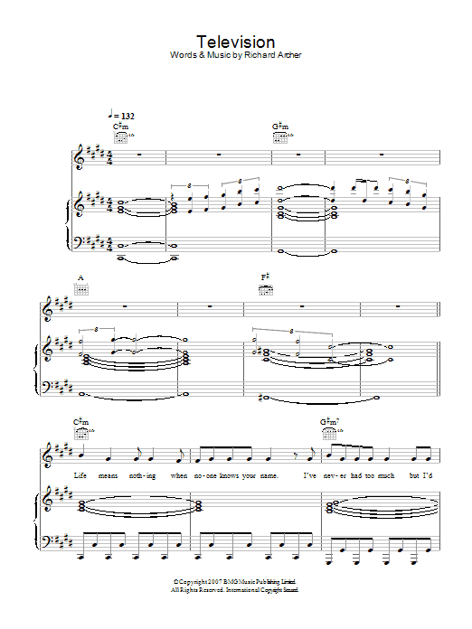 Hard-Fi Television sheet music preview music notes and score for Piano, Vocal & Guitar including 8 page(s)