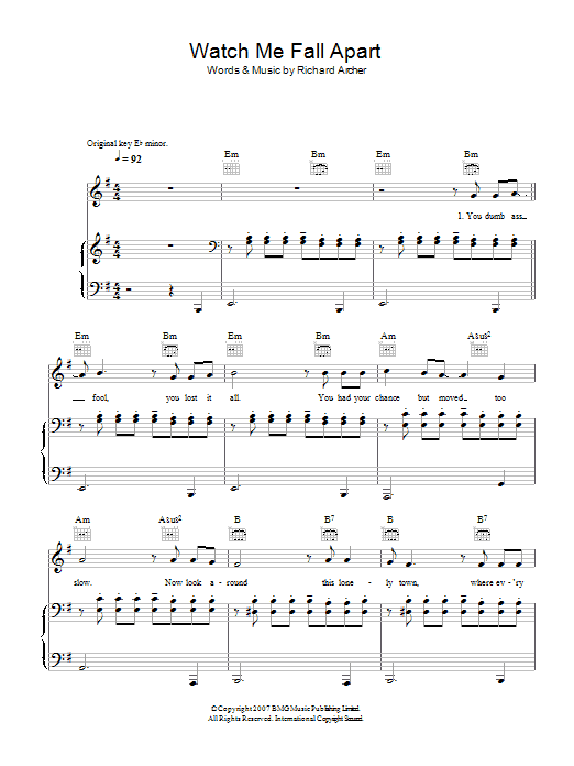 Hard-Fi Watch Me Fall Apart sheet music preview music notes and score for Piano, Vocal & Guitar including 4 page(s)