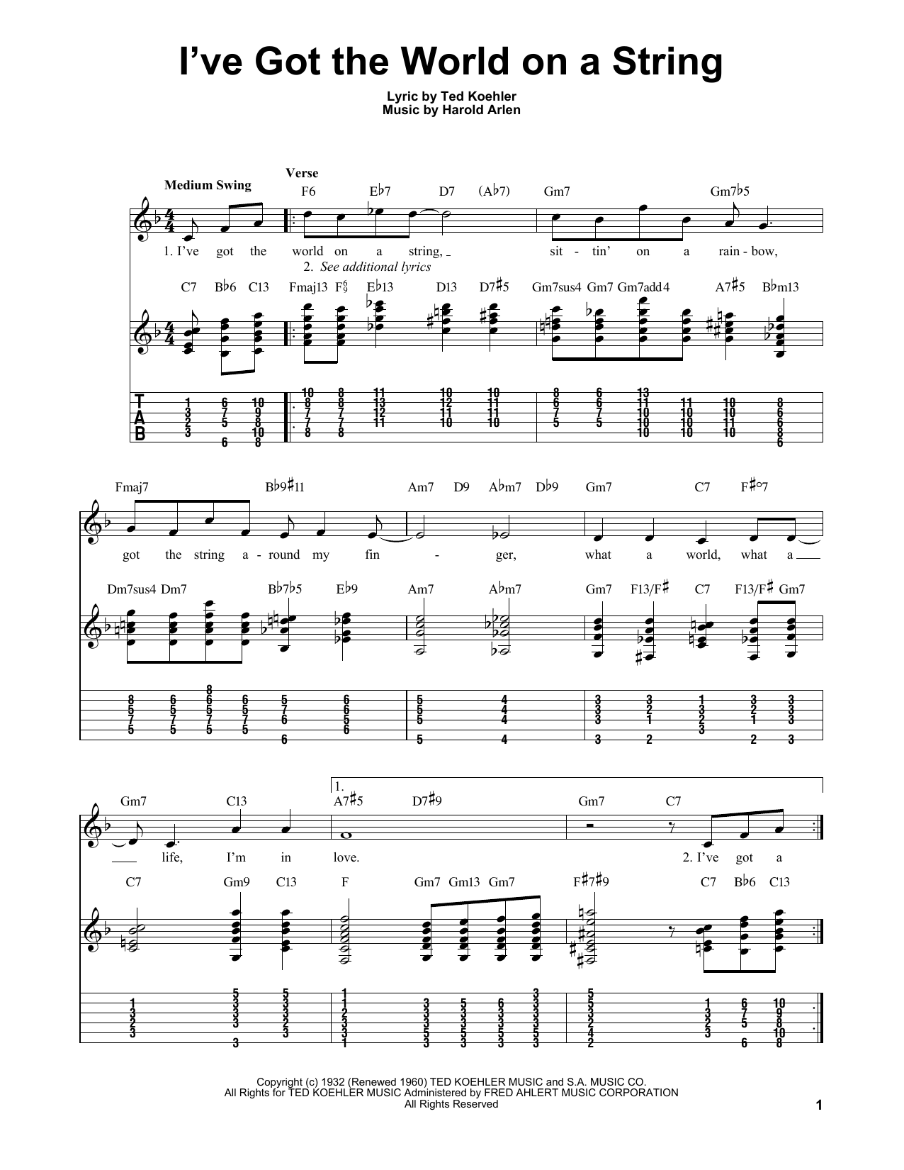 Download Harold Arlen 'I've Got The World On A String' Digital Sheet Music Notes & Chords and start playing in minutes