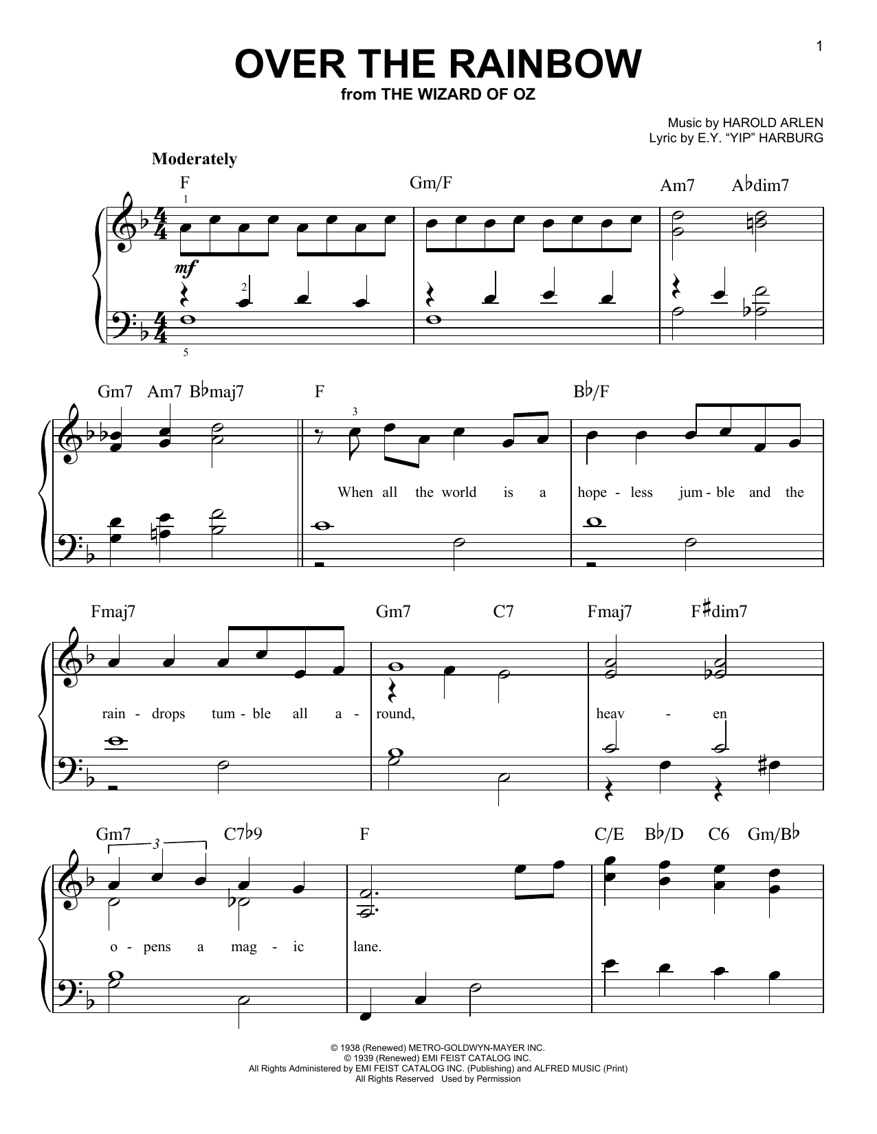 Download Harold Arlen 'Over The Rainbow' Digital Sheet Music Notes & Chords and start playing in minutes