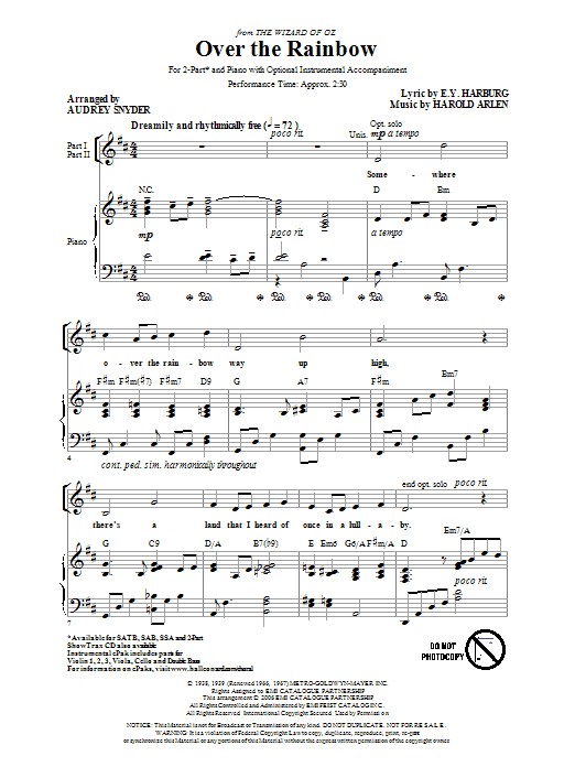 Harold Arlen Over The Rainbow (arr. Audrey Snyder) sheet music preview music notes and score for 2-Part Choir including 5 page(s)