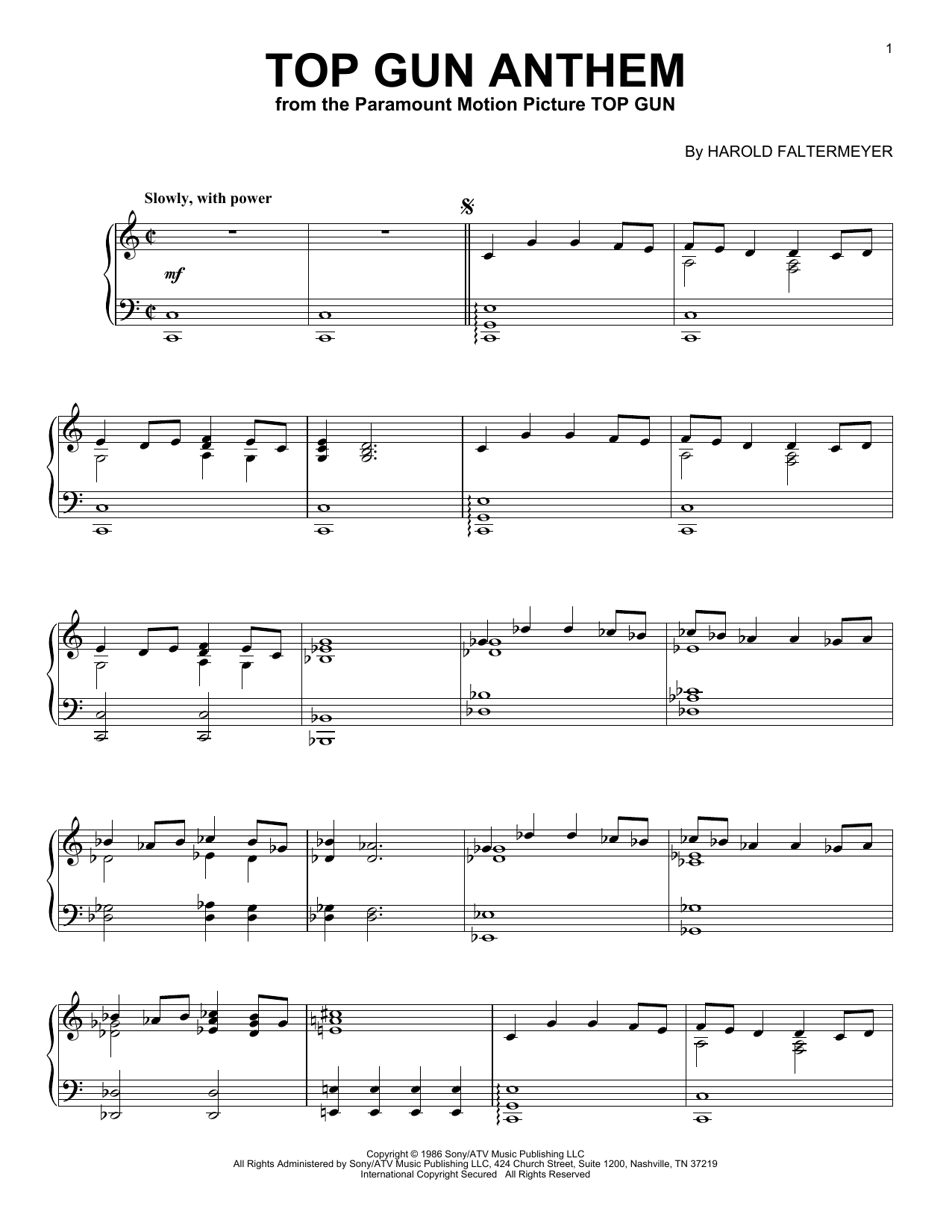 Download Harold Faltermeyer 'Top Gun Anthem' Digital Sheet Music Notes & Chords and start playing in minutes
