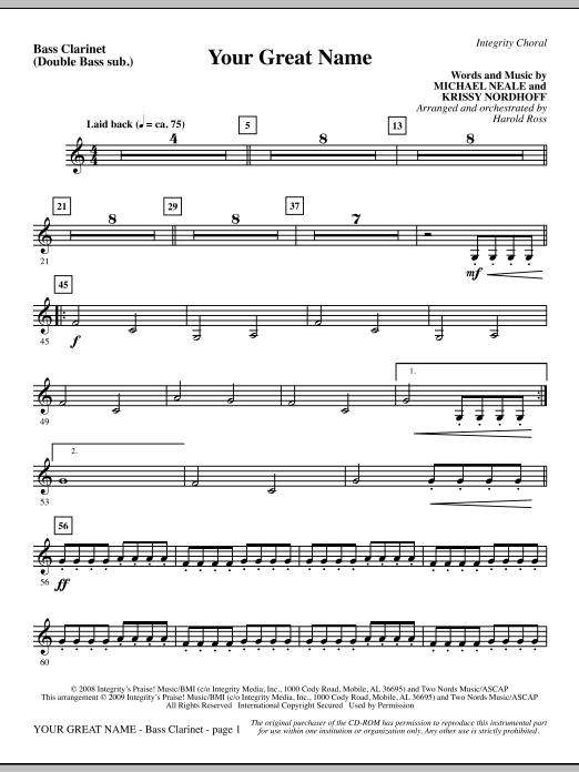 Harold Ross Your Great Name - Bass Clarinet (sub. dbl bass) sheet music preview music notes and score for Choir Instrumental Pak including 2 page(s)