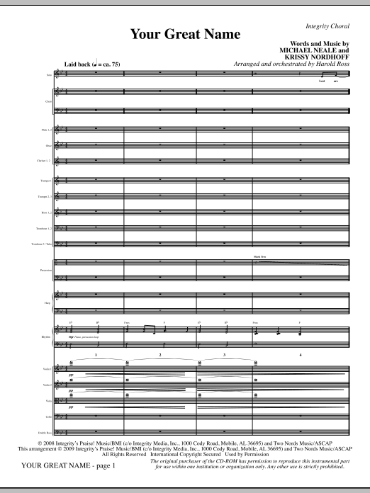 Harold Ross Your Great Name - Full Score sheet music preview music notes and score for Choir Instrumental Pak including 8 page(s)