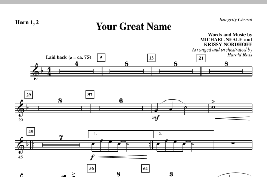 Harold Ross Your Great Name - Horn 1 & 2 sheet music preview music notes and score for Choir Instrumental Pak including 1 page(s)