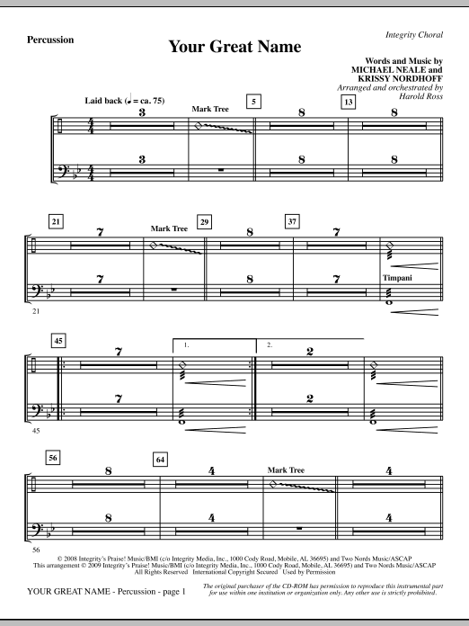 Harold Ross Your Great Name - Percussion sheet music preview music notes and score for Choir Instrumental Pak including 2 page(s)