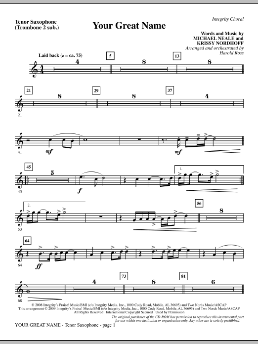 Harold Ross Your Great Name - Tenor Sax (sub. Tbn 2) sheet music preview music notes and score for Choir Instrumental Pak including 2 page(s)