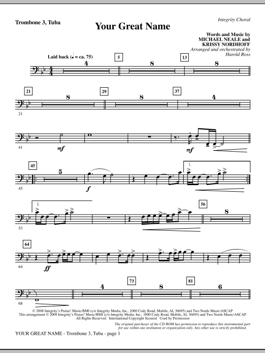 Harold Ross Your Great Name - Trombone 3/Tuba sheet music preview music notes and score for Choir Instrumental Pak including 2 page(s)