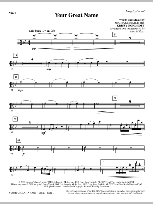 Harold Ross Your Great Name - Viola sheet music preview music notes and score for Choir Instrumental Pak including 2 page(s)