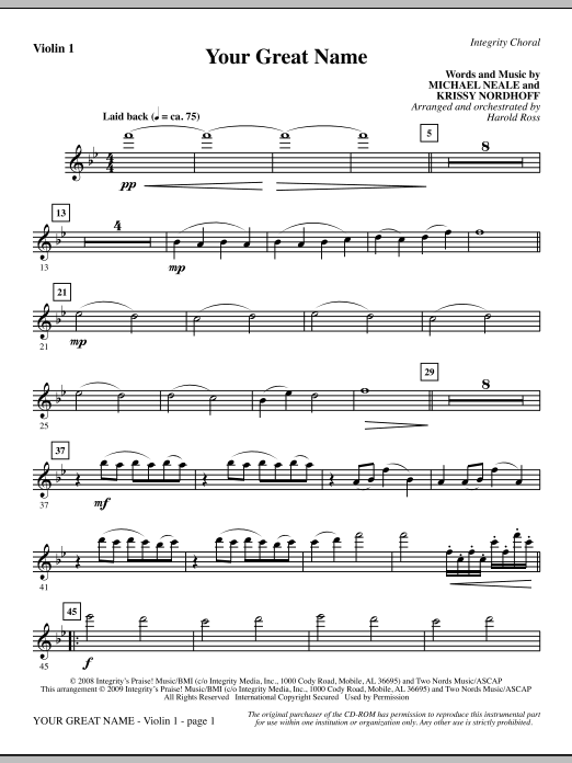 Harold Ross Your Great Name - Violin 1 sheet music preview music notes and score for Choir Instrumental Pak including 2 page(s)