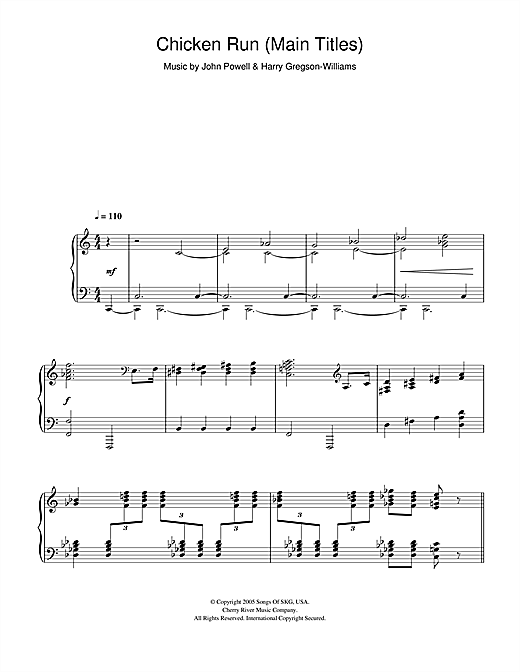 Download Harry Gregson-Williams 'Chicken Run (Main Titles)' Digital Sheet Music Notes & Chords and start playing in minutes