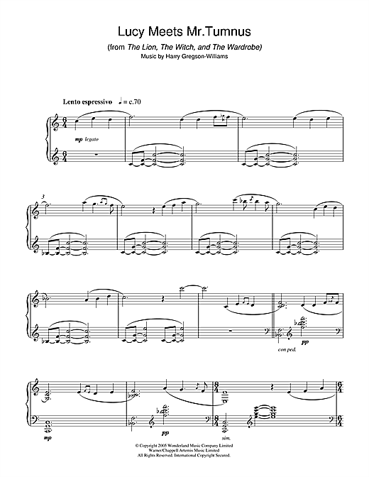 Download Harry Gregson-Williams 'Lucy Meets Mr. Tumnus (from The Chronicles Of Narnia: The Lion, The Witch And The Ward' Digital Sheet Music Notes & Chords and start playing in minutes