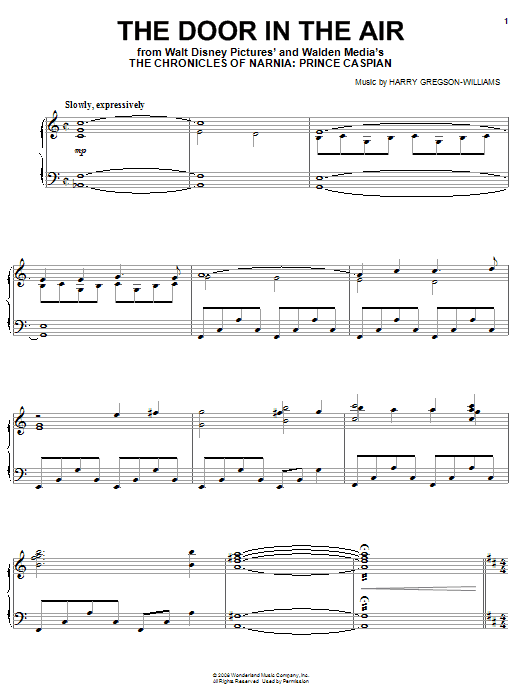 Harry Gregson-Williams The Door In The Air sheet music preview music notes and score for Piano including 7 page(s)