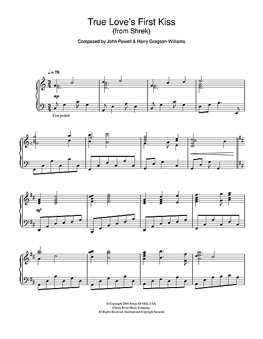 Download Harry Gregson-Williams, John Powell 'Shrek (True Love's First Kiss)' Digital Sheet Music Notes & Chords and start playing in minutes