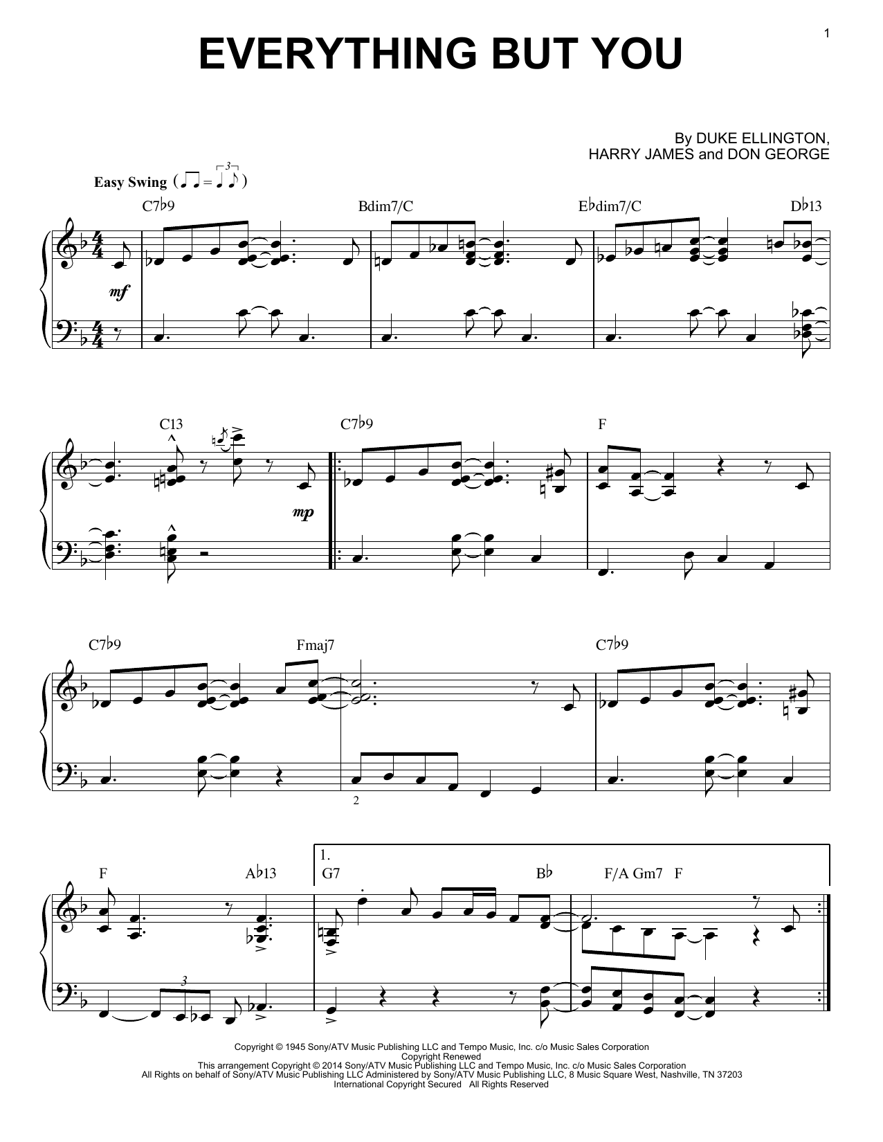 Download Harry James 'Everything But You' Digital Sheet Music Notes & Chords and start playing in minutes