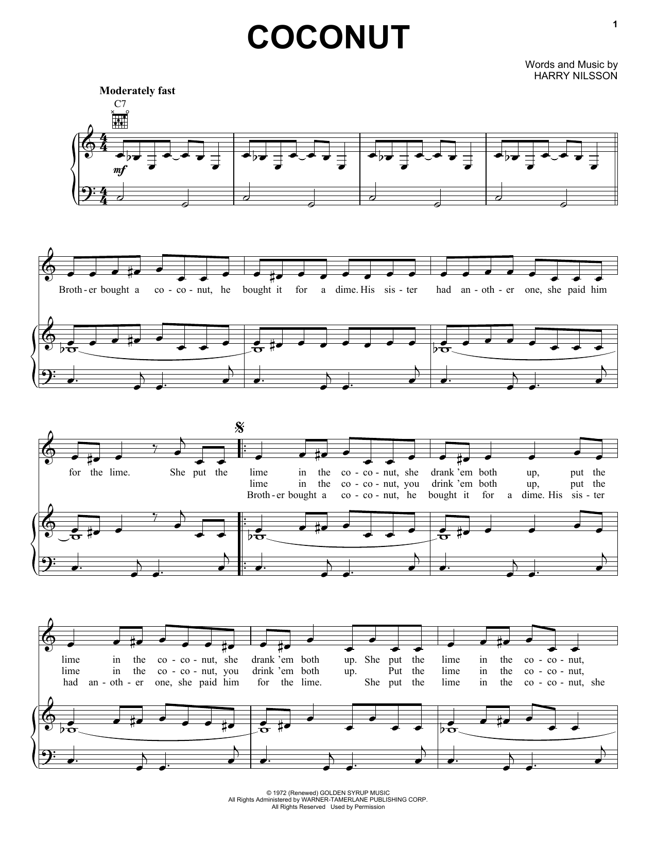 Harry Nilsson Coconut sheet music preview music notes and score for Ukulele including 7 page(s)