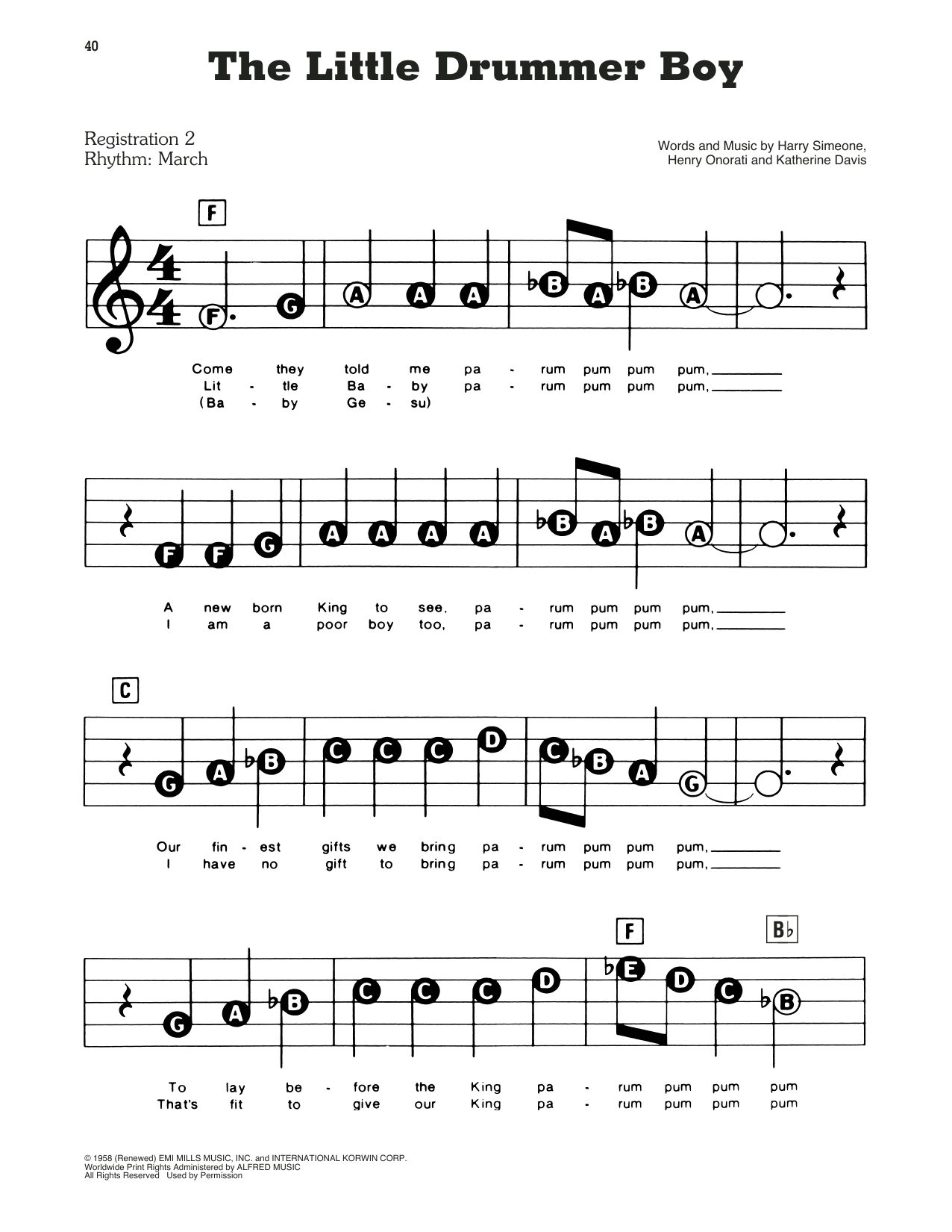 Harry Simeone The Little Drummer Boy sheet music preview music notes and score for E-Z Play Today including 3 page(s)