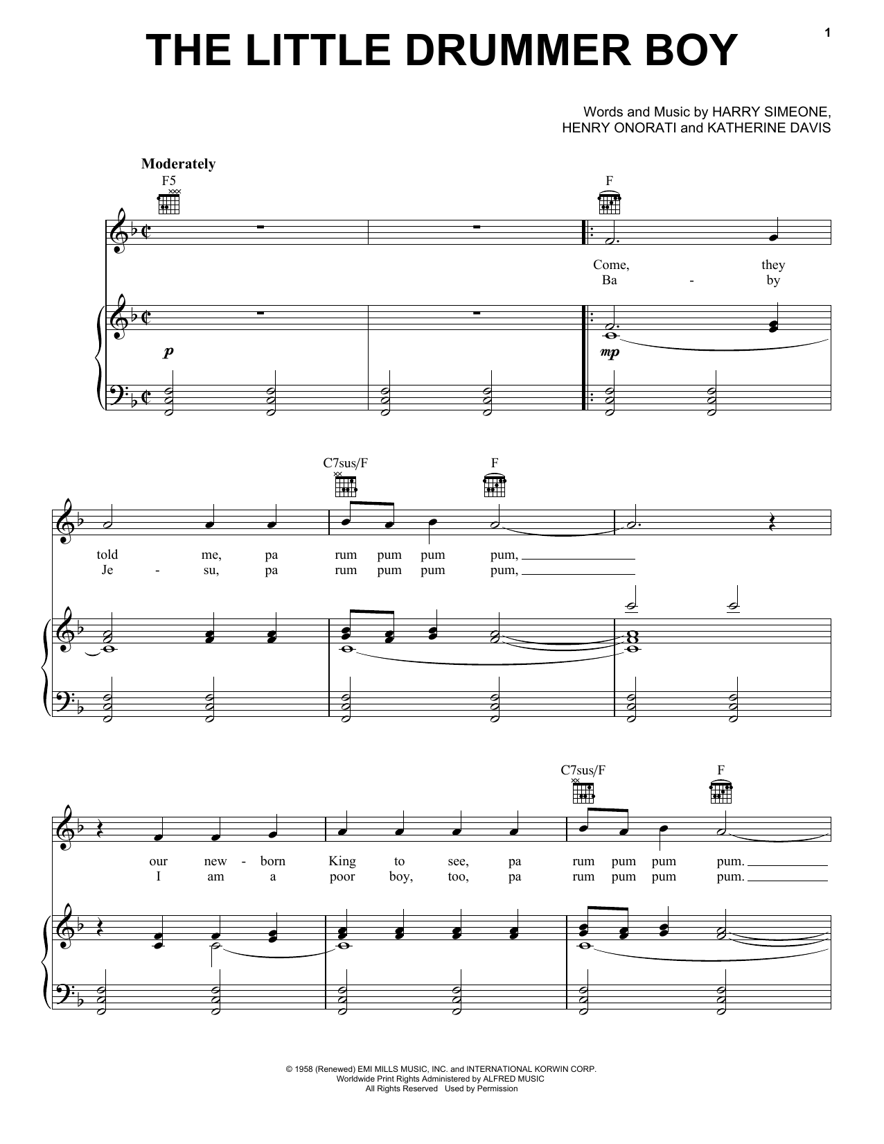 Harry Simeone The Little Drummer Boy sheet music preview music notes and score for Piano, Vocal & Guitar (Right-Hand Melody) including 5 page(s)