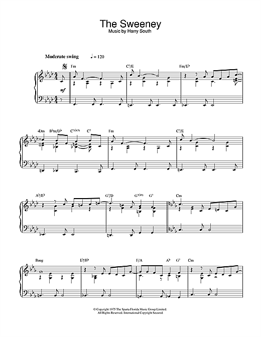 Harry South Theme from The Sweeney sheet music notes and chords
