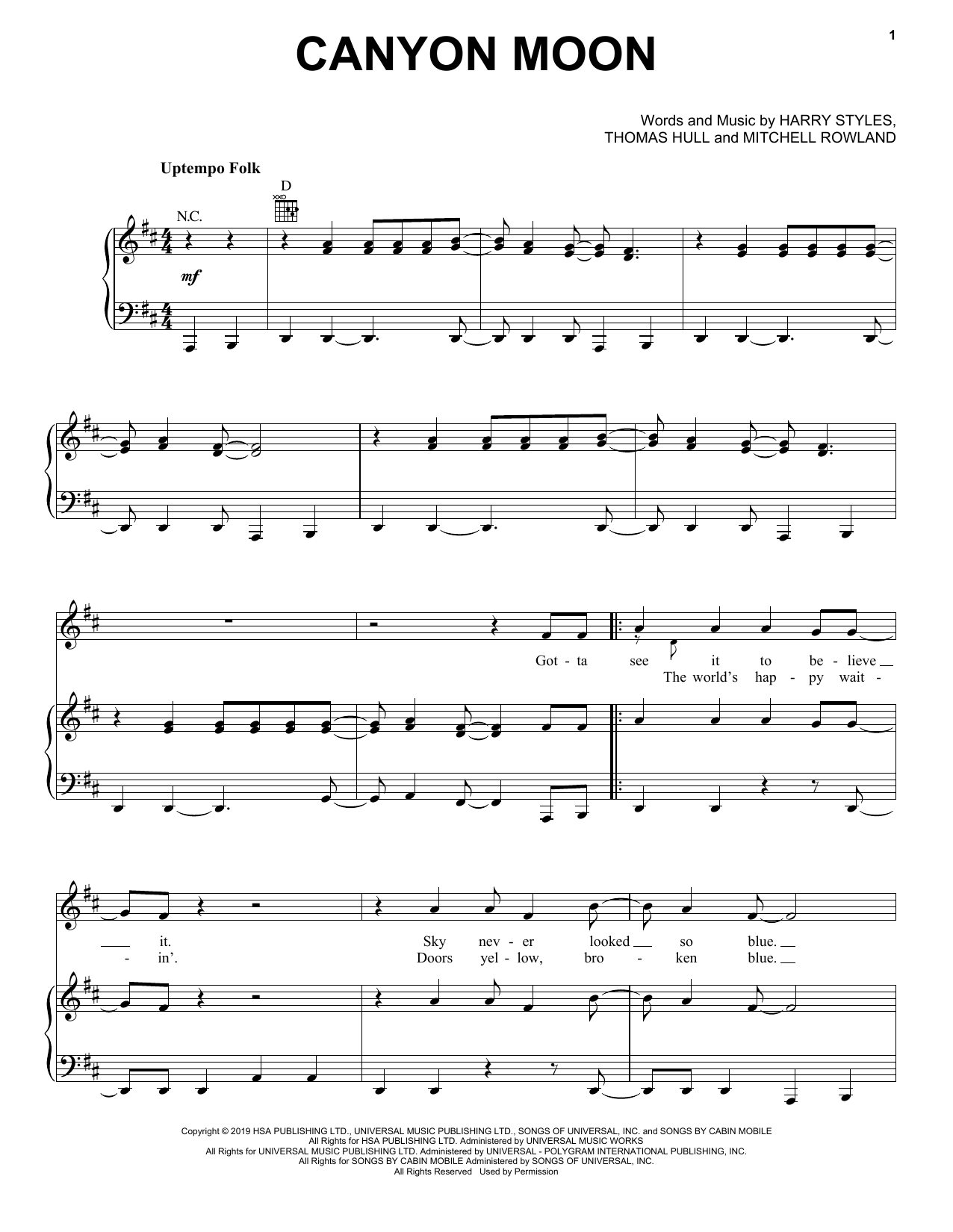 Harry Styles Canyon Moon sheet music notes and chords