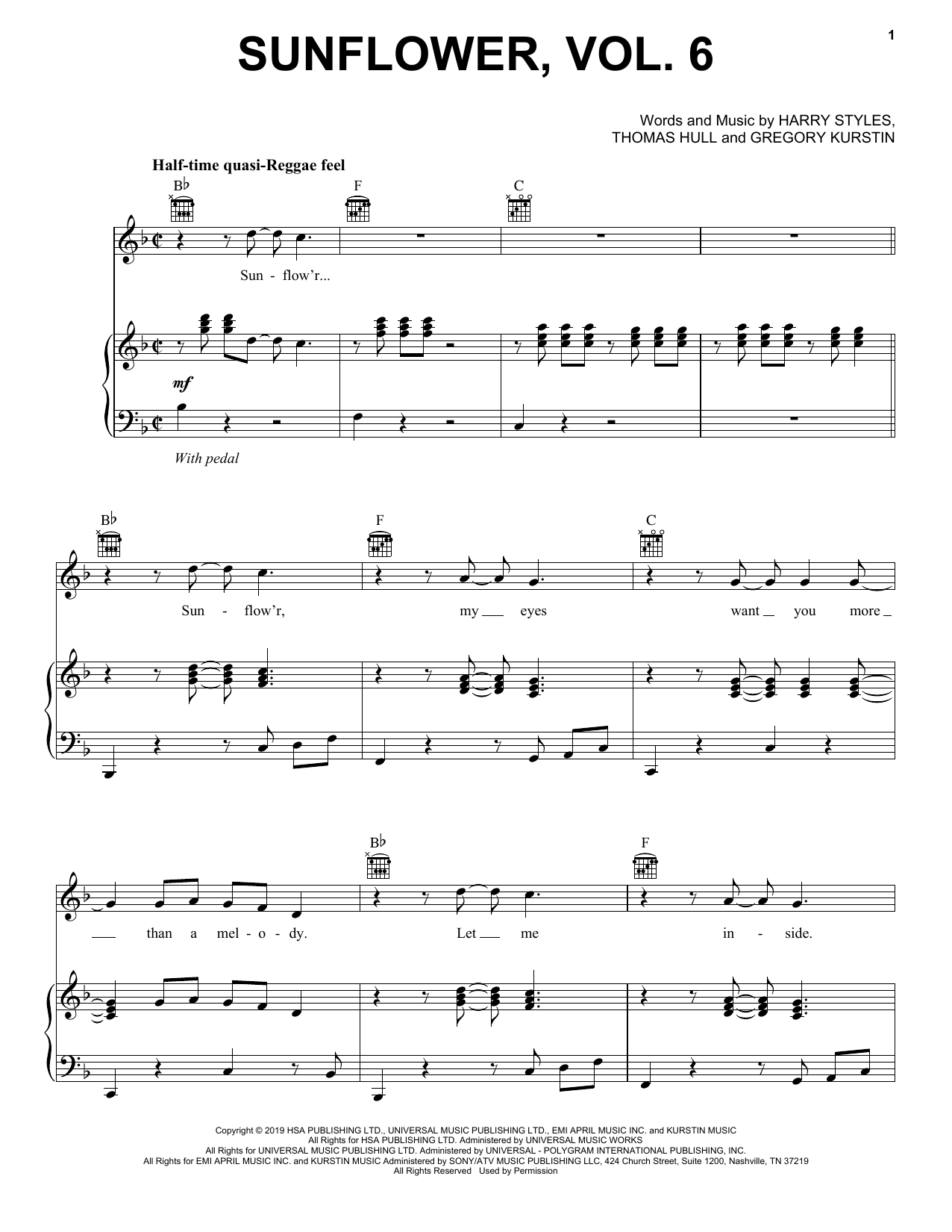 Harry Styles Sunflower, Vol. 6 sheet music notes and chords