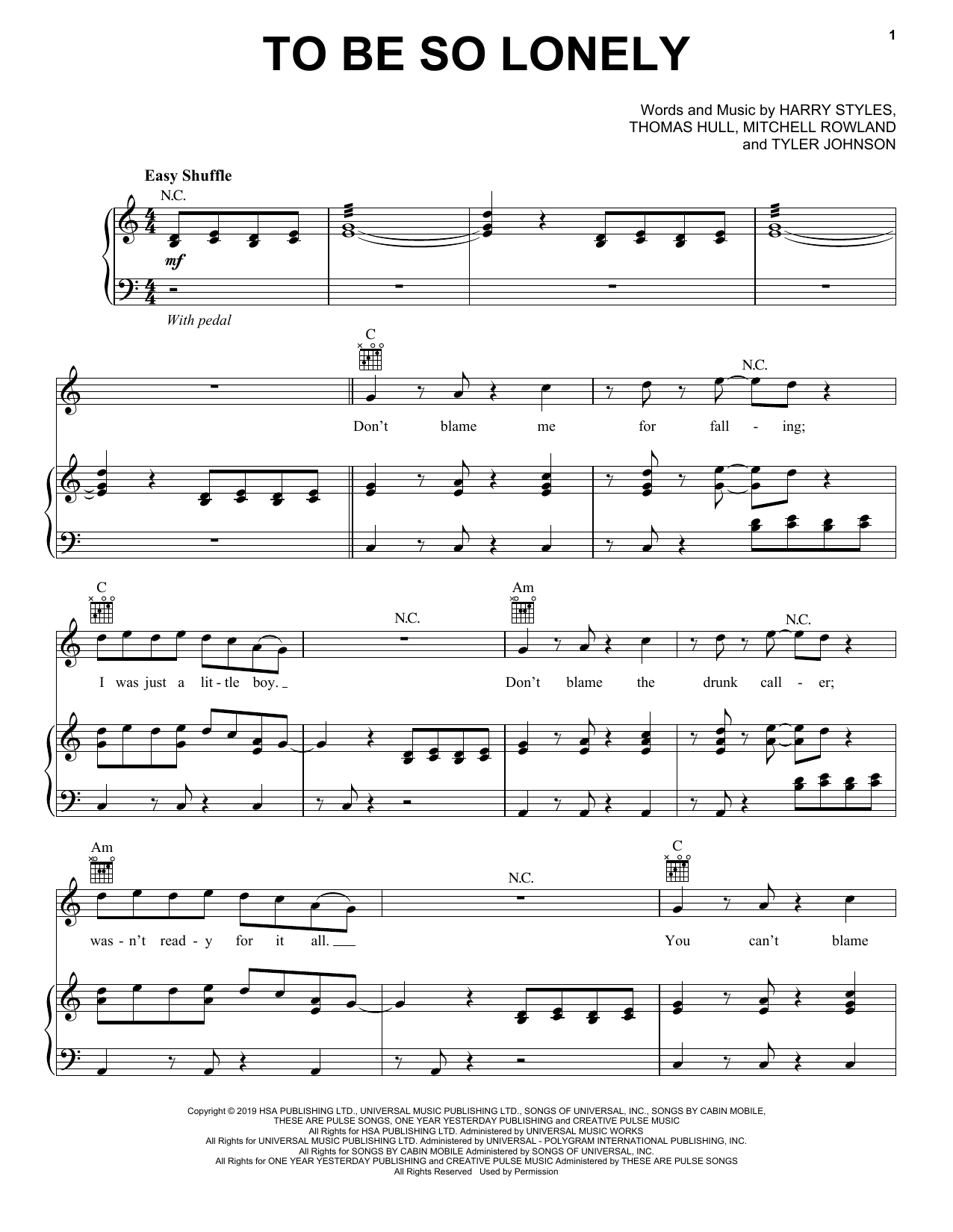 Download Harry Styles 'To Be So Lonely' Digital Sheet Music Notes & Chords and start playing in minutes