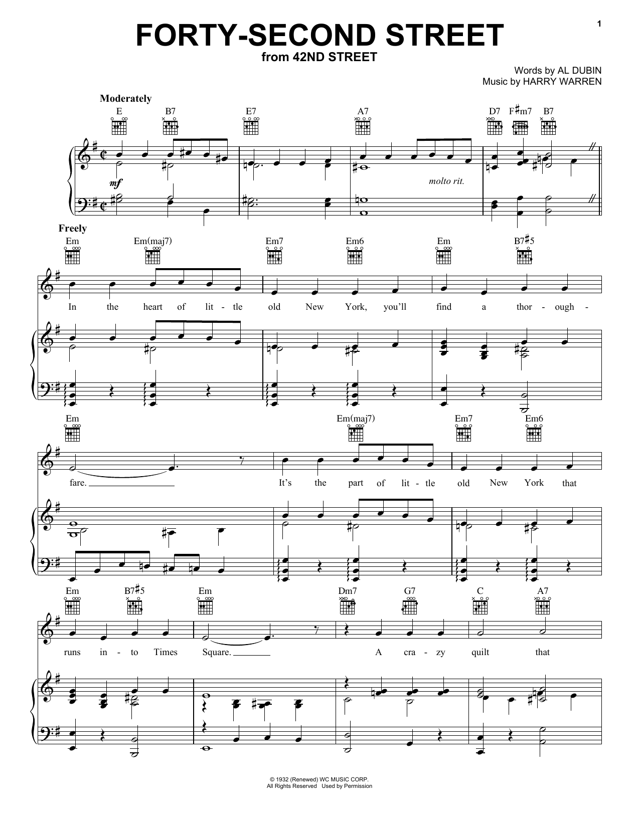Harry Warren Forty Second Street sheet music preview music notes and score for Piano, Vocal & Guitar (Right-Hand Melody) including 4 page(s)