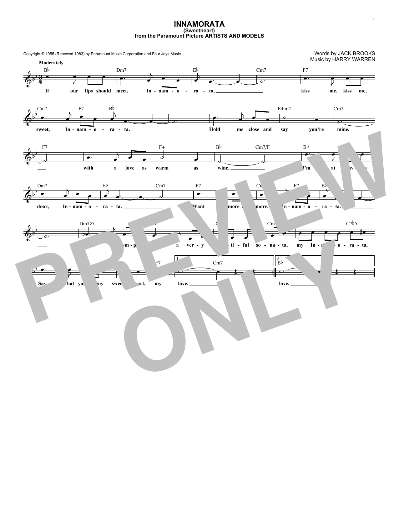 Harry Warren Innamorata (Sweetheart) sheet music notes and chords
