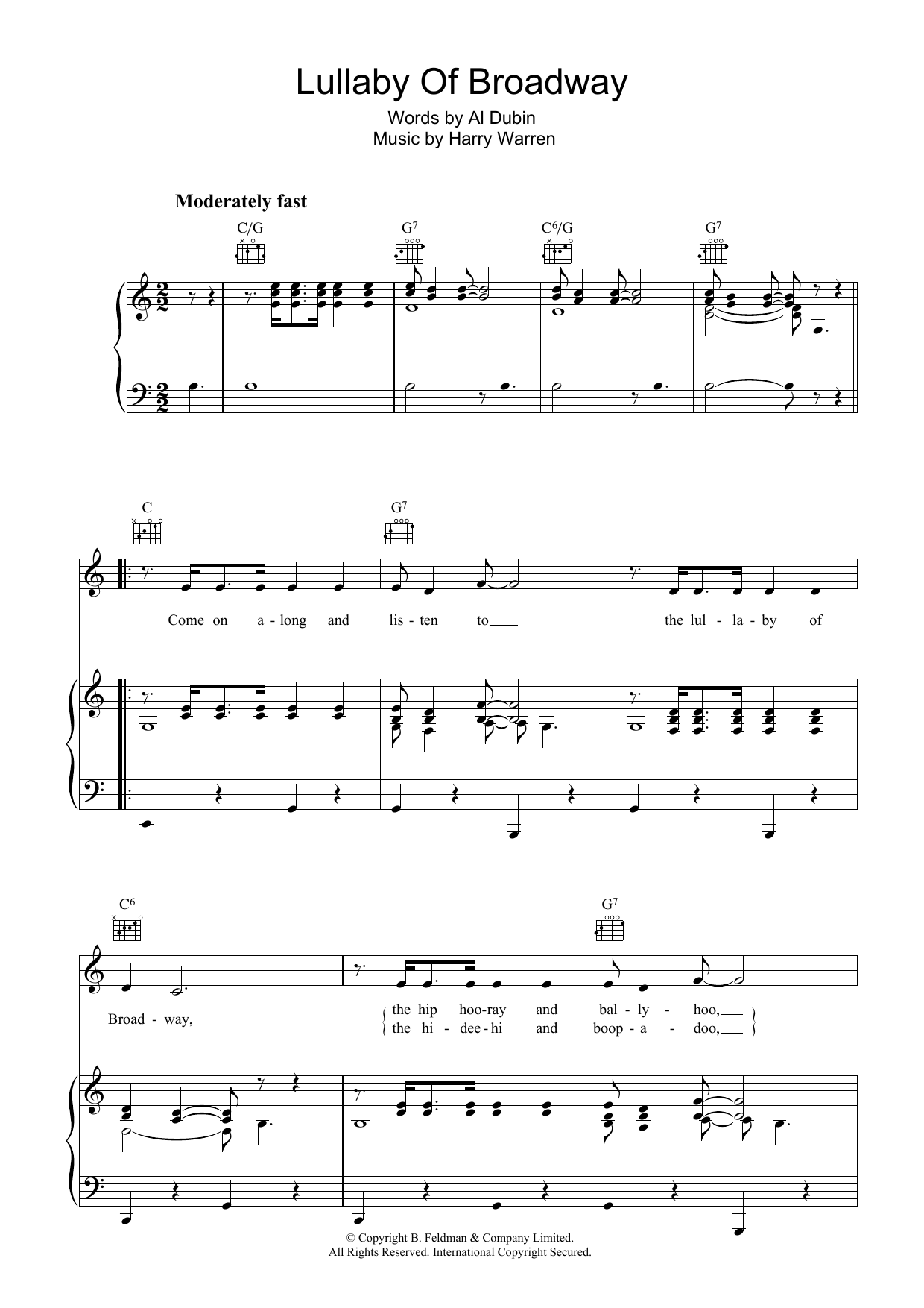 Harry Warren Lullaby Of Broadway sheet music preview music notes and score for Piano & Vocal including 6 page(s)
