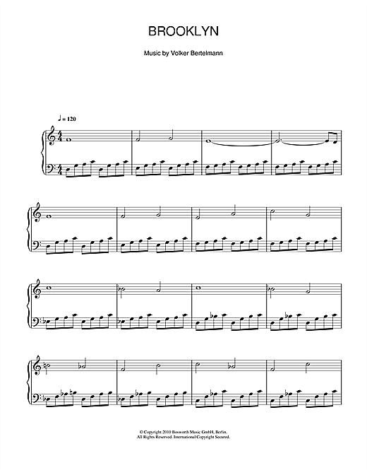 Hauschka Brooklyn sheet music notes and chords