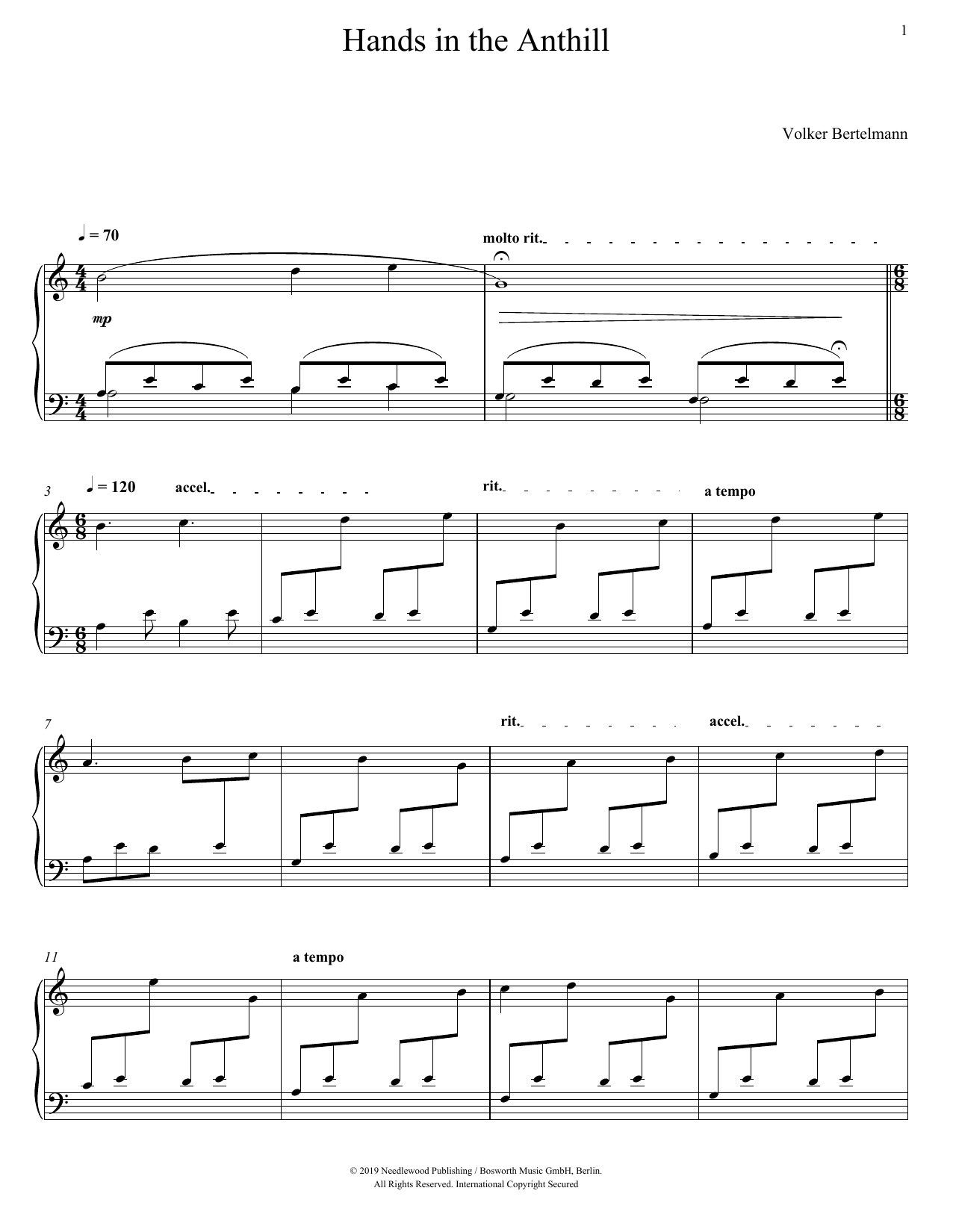 Hauschka Hands In The Anthill sheet music preview music notes and score for Piano Solo including 4 page(s)