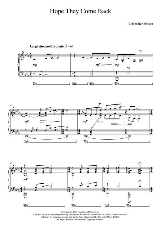 Download Hauschka 'Hope They Come Back' Digital Sheet Music Notes & Chords and start playing in minutes