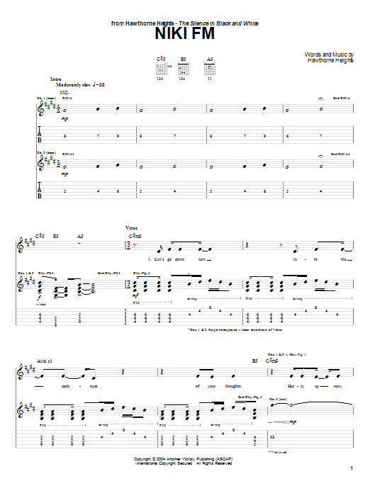 Hawthorne Heights Niki FM sheet music preview music notes and score for Guitar Tab including 8 page(s)