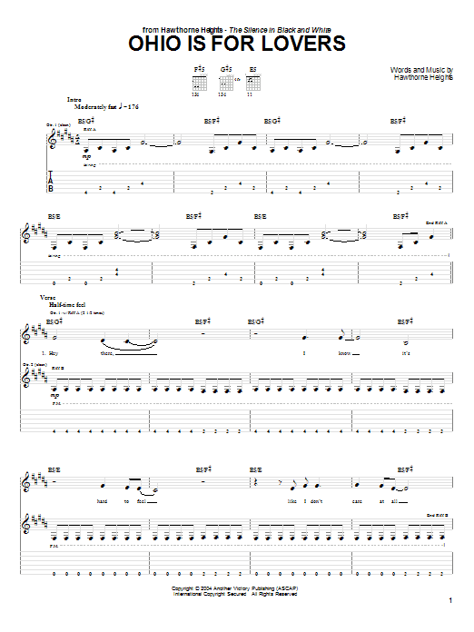 Hawthorne Heights Ohio Is For Lovers sheet music preview music notes and score for Guitar Tab including 7 page(s)