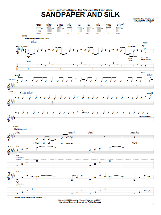 Hawthorne Heights Sandpaper And Silk sheet music preview music notes and score for Guitar Tab including 6 page(s)