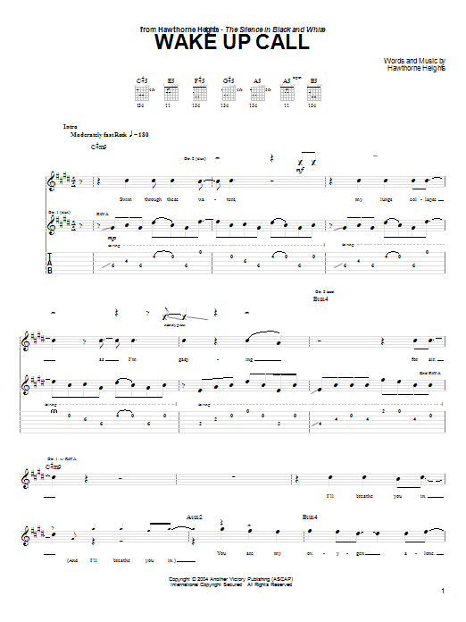 Hawthorne Heights Wake Up Call sheet music notes and chords