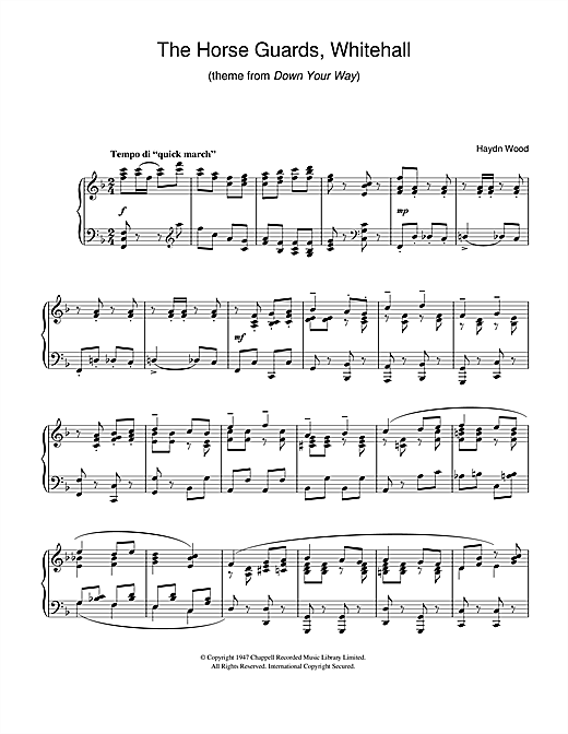 Download Haydn Wood 'The Horseguards, Whitehall (theme from Down Your Way)' Digital Sheet Music Notes & Chords and start playing in minutes