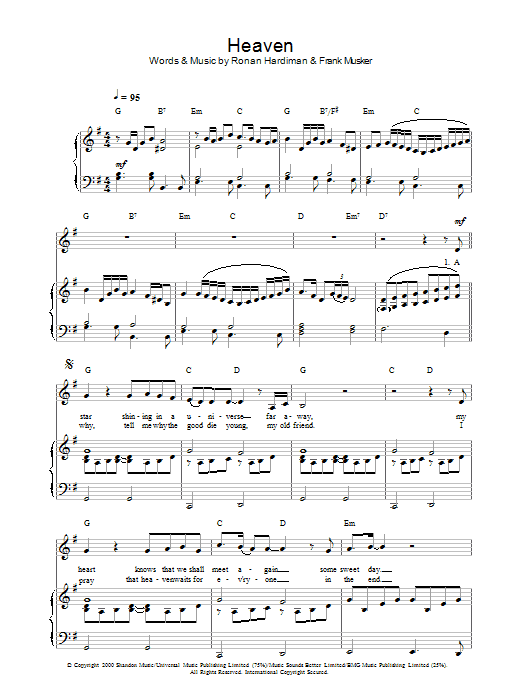 Hayley Westenra Heaven sheet music preview music notes and score for Piano, Vocal & Guitar including 5 page(s)