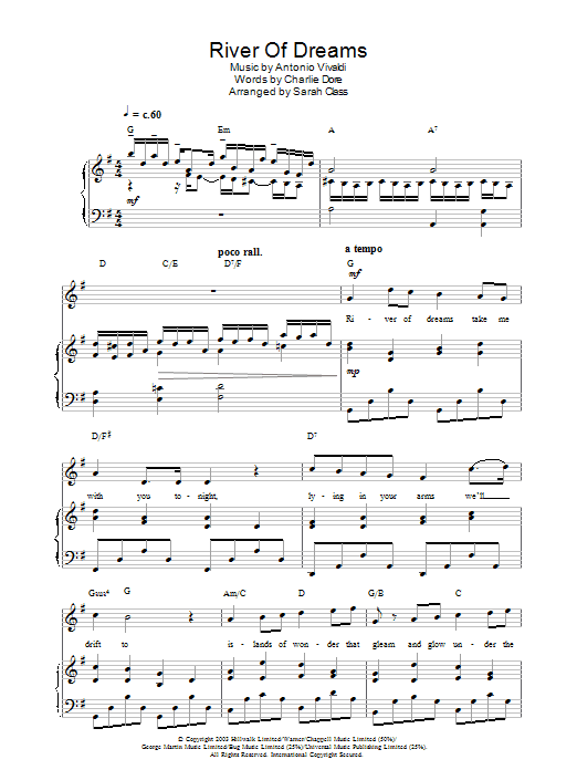 Hayley Westenra River Of Dreams sheet music preview music notes and score for Piano, Vocal & Guitar including 6 page(s)