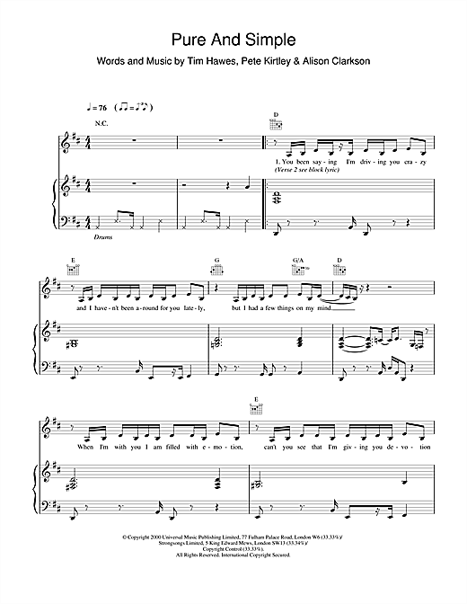 Hear'Say Pure And Simple sheet music notes and chords