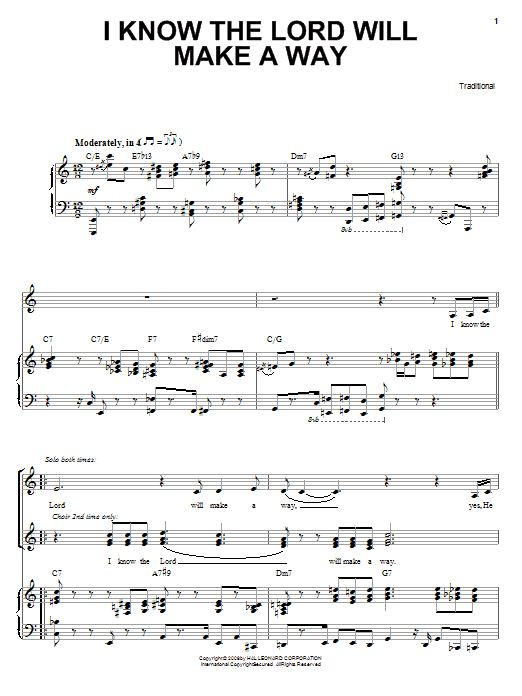 Heather Headley I Know The Lord Will Make A Way sheet music preview music notes and score for Piano, Vocal & Guitar (Right-Hand Melody) including 8 page(s)