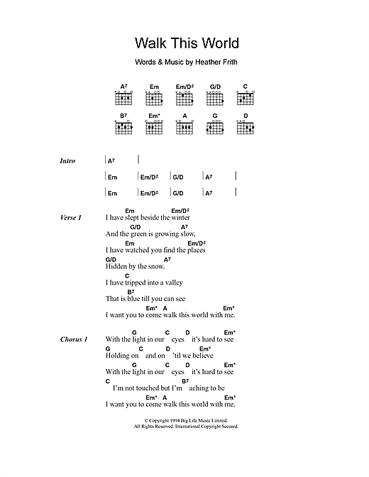 Heather Nova Walk This World sheet music notes and chords