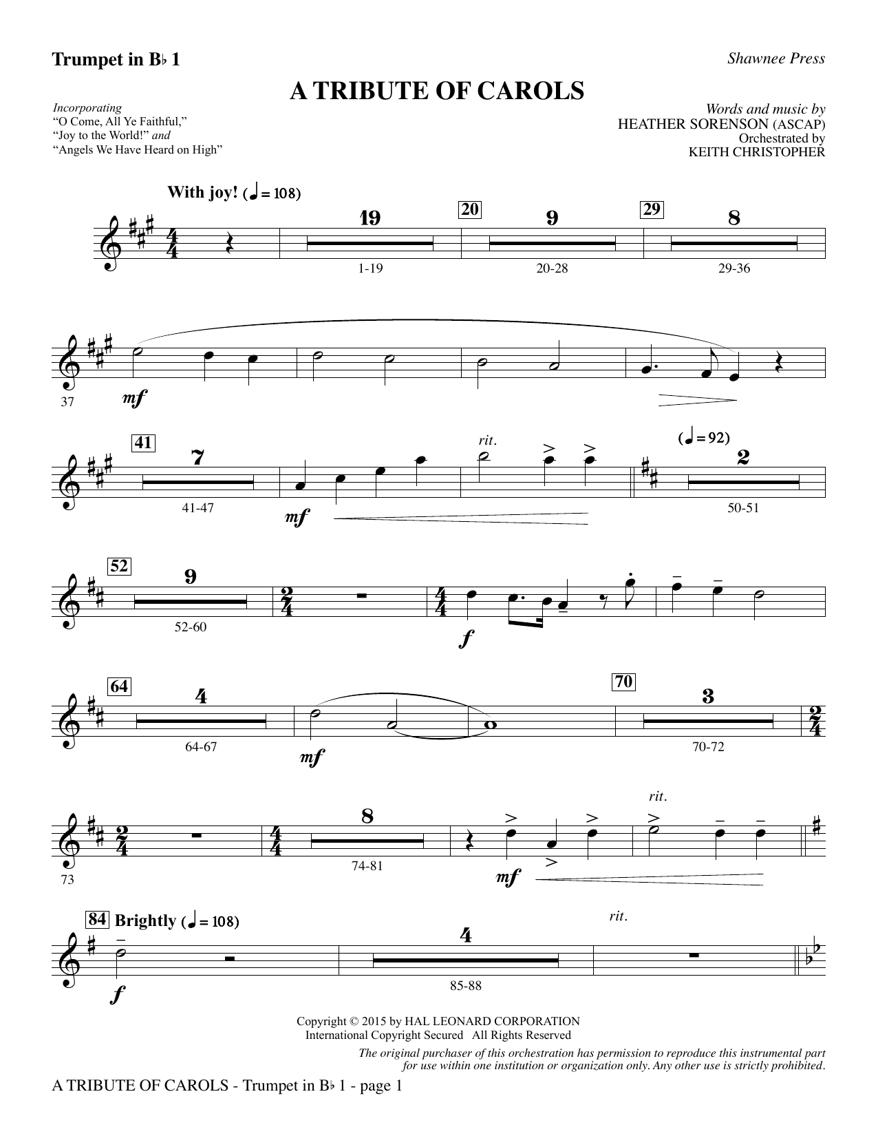 Download Heather Sorenson 'A Tribute of Carols - Bb Trumpet 1' Digital Sheet Music Notes & Chords and start playing in minutes