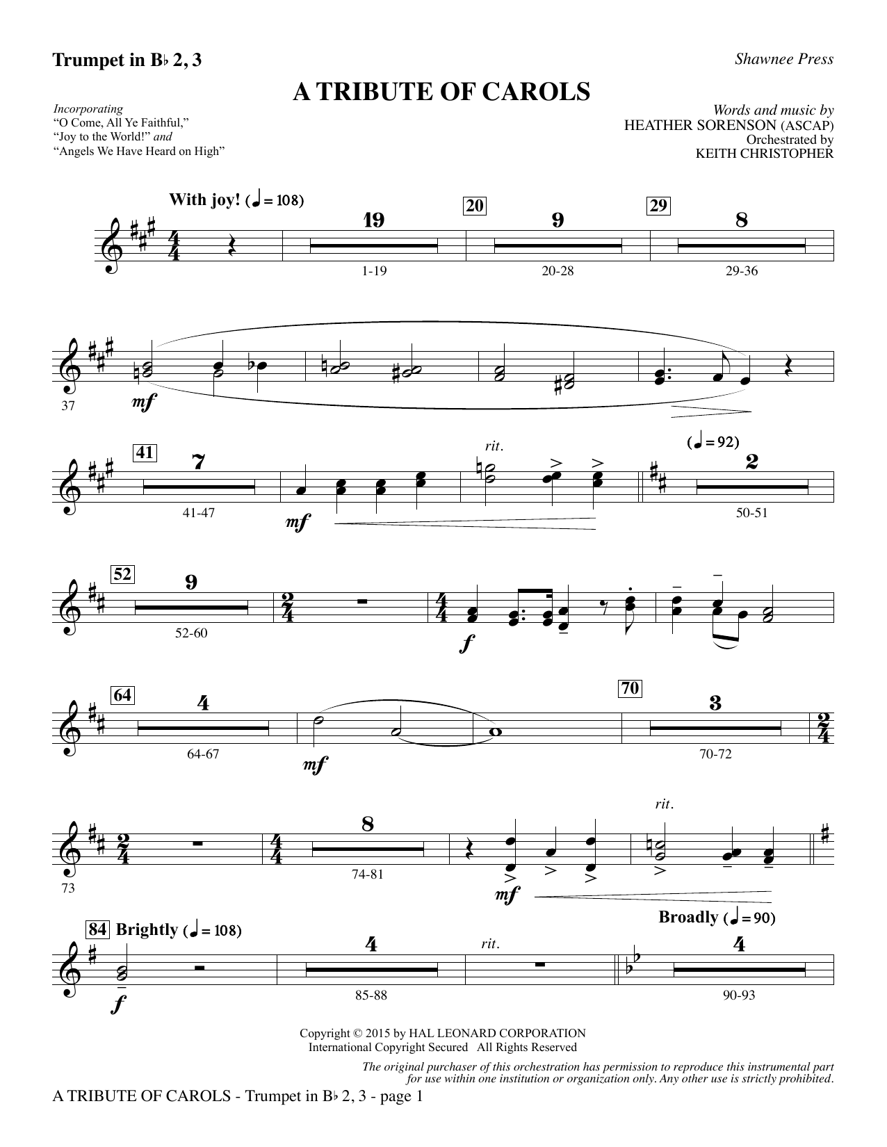 Download Heather Sorenson 'A Tribute of Carols - Bb Trumpet 2,3' Digital Sheet Music Notes & Chords and start playing in minutes