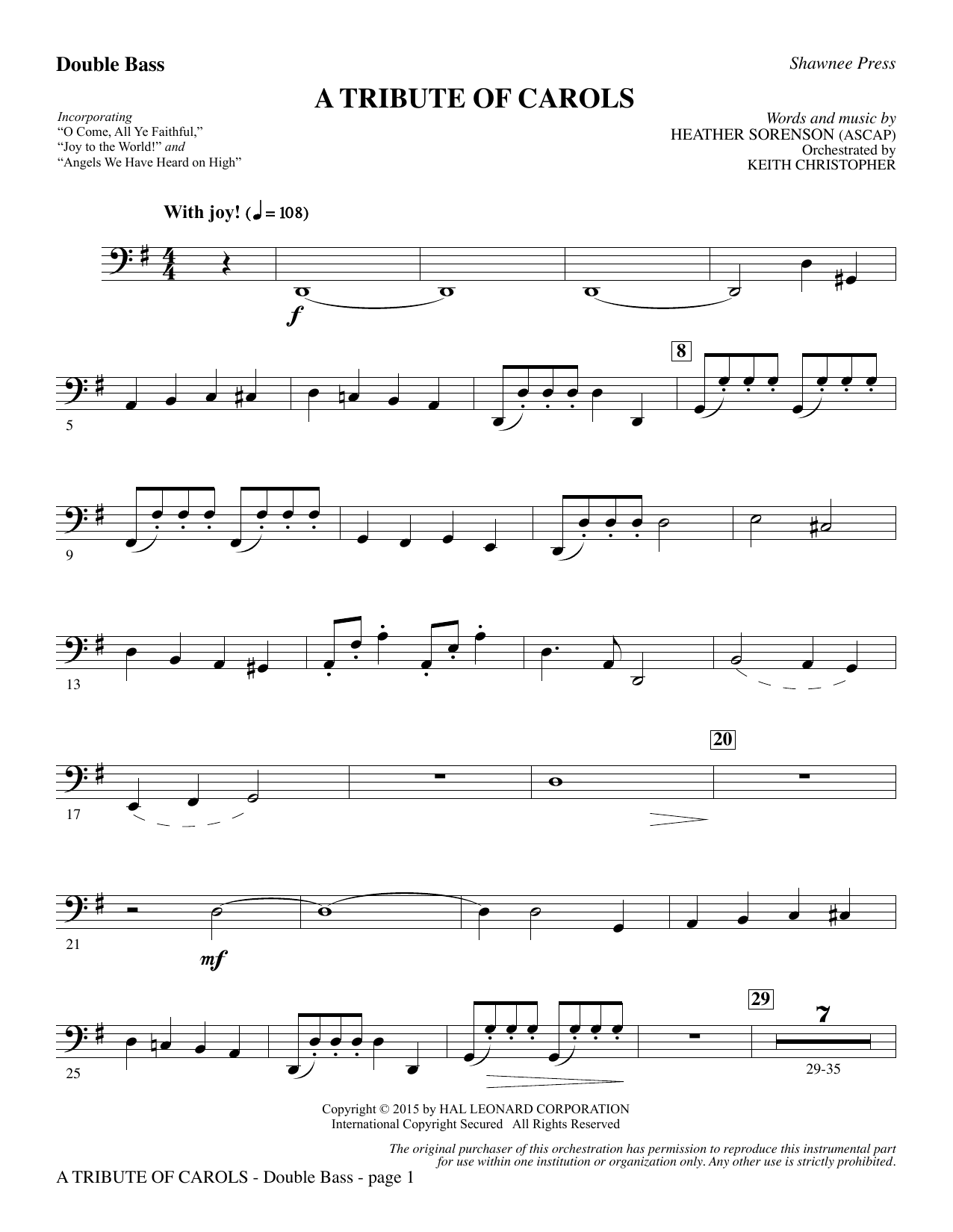 Download Heather Sorenson 'A Tribute of Carols - Double Bass' Digital Sheet Music Notes & Chords and start playing in minutes