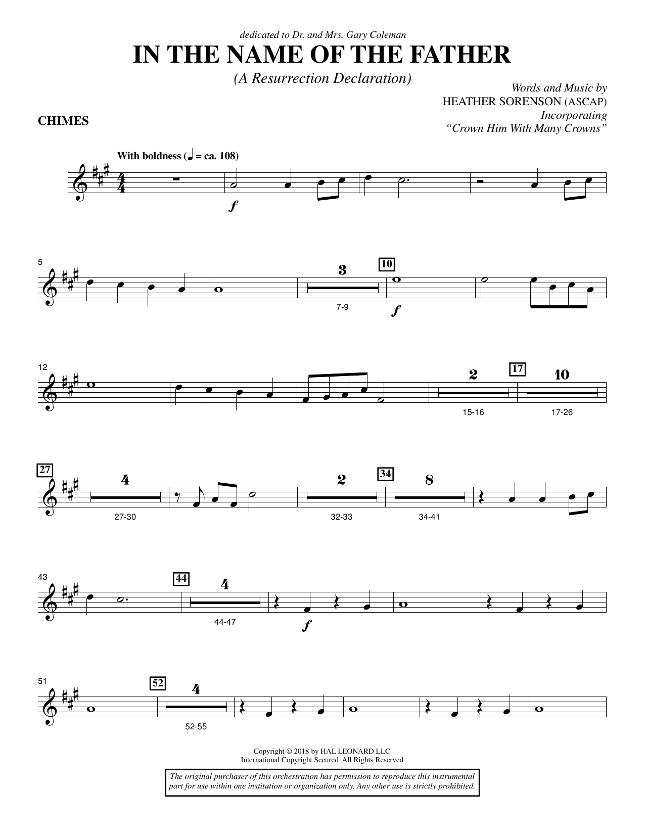 Heather Sorenson In the Name of the Father (A Resurrection Declaration) - Chimes sheet music preview music notes and score for Choir Instrumental Pak including 2 page(s)