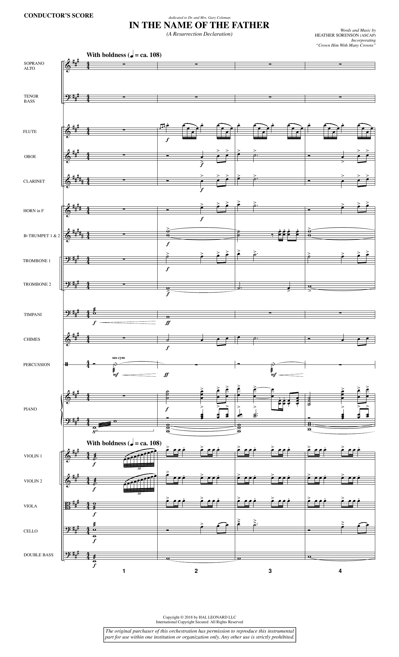 Heather Sorenson In the Name of the Father (A Resurrection Declaration) - Full Score sheet music preview music notes and score for Choir Instrumental Pak including 28 page(s)