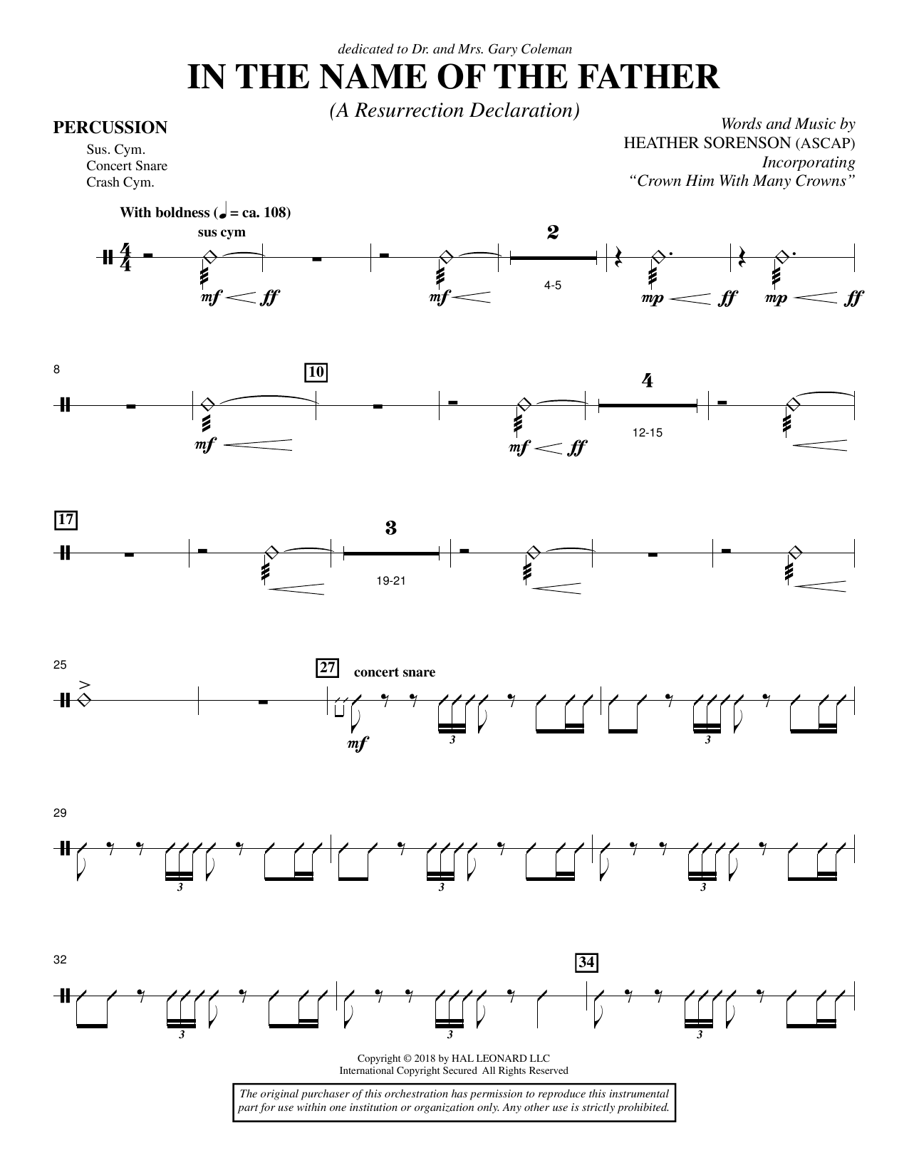 Heather Sorenson In the Name of the Father (A Resurrection Declaration) - Percussion sheet music preview music notes and score for Choir Instrumental Pak including 3 page(s)