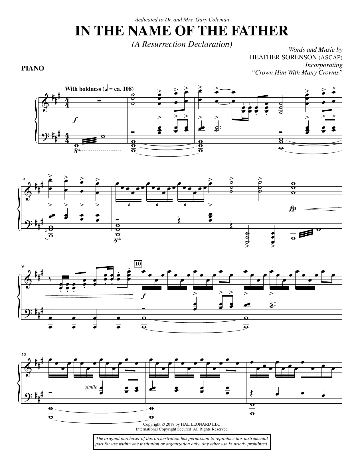 Heather Sorenson In the Name of the Father (A Resurrection Declaration) - Piano sheet music preview music notes and score for Choir Instrumental Pak including 7 page(s)