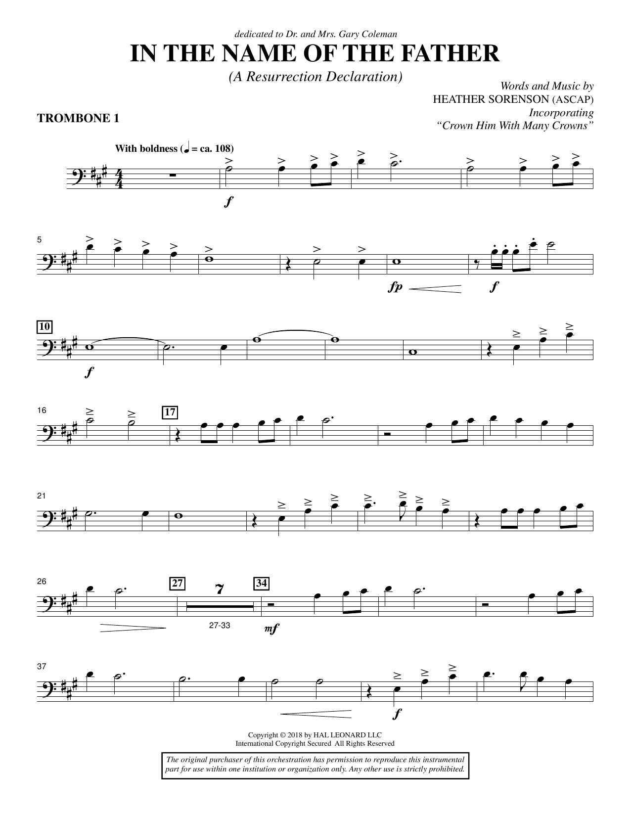 Heather Sorenson In the Name of the Father (A Resurrection Declaration) - Trombone 1 sheet music preview music notes and score for Choir Instrumental Pak including 3 page(s)